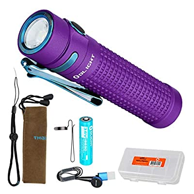 OLIGHT S2R II (S2R Upgrade) 1150 Lumen Rechargeable LED Flashlight with Magnetic Charger, Rechargeable Battery and LumenTac Battery Organizer (Purple)