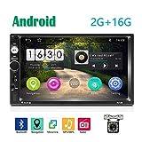 2 Din Android Autoradio GPS 2G+16G CAMECHO Touchscreen Capacitivo da 7 pollici Collegamento Specchio Stereo per Auto Bluetooth SD WIFI USB SD AUX FM + Fotocamera Posteriore