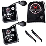 MIGHTYWEDGE Air Pump Wedge 5 Piece Kit - Inflatable Lifter Tool Each for Car, Door, Window, Shower Fittings - 2 Shims, 2 Pry Crowbars & 1 Drawstring Bag - 16.5 cm x 15 cm Together 300kg Lift Capacity