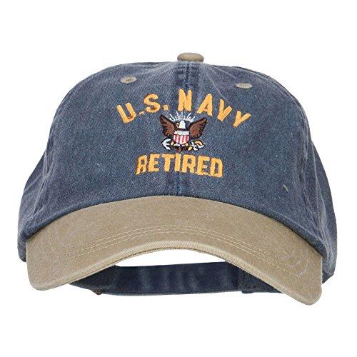 e4Hats.com US Navy Retired Military Embroidered Two Tone Cap - Navy Khaki OSFM