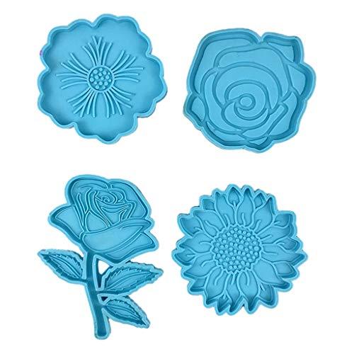 WOWOWO Posavasos en Forma de Flor Molde de Resina epoxi Cojín de Alfombrilla Molde de Silicona Herramienta de artesanía de Bricolaje