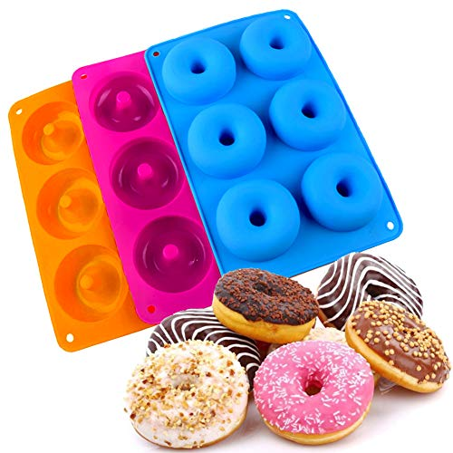 3 Paquete Moldes Silicona para Rosquillas,6 Cavidades Bandeja Hornear Silicona Grado Alimenticio Antiadherente Cacerola ,Adecuado para Pasteles,Galletas,Bagels, Muffins-azul/Rosa Roja/naranja