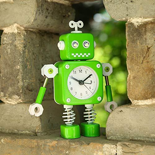 Luxuryclock Creative Metal Robot Alarm Clock Inicio Joyería Estudiante Reloj Despertador para Niños, Robot De Patas De Resorte De Bloque Verde