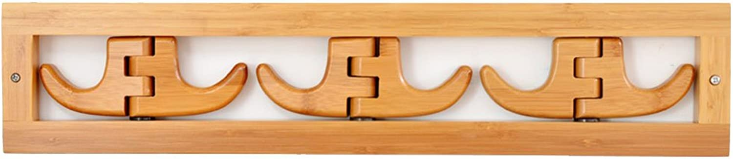Coat Rack Solid Wood Wall Mounted Clothes Hat Holder Creative Foldable Hook Design Natural Colour(6 Hook)