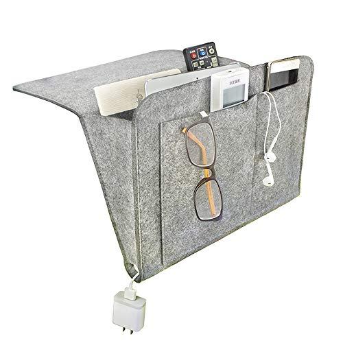 FOGAWA Betttasche Sofa Organizer Anti-Rutsch Aufbewahrung Filz Nachttisch Tasche Bett Organizer Bettablage zum Einhängen Bettaufhänger Organizer für Handy Fernbedienung Buch Zeitschriften iPad