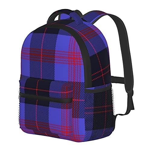 Angus - Mochila de tartán azul para niños y niñas, mochila escolar para guardería, preescolar, bebé, guardería, bolsa de viaje con clip para el pecho