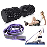 The Trigger Point Foam Roller Set with Stretch Strap for Back, Medium Density Muscle Roller for Deep Tissue Massager and Myofascial Release for All Body