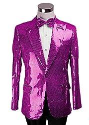 Lilac/C Splendid Sequins Lapel Tuxedo Jacket