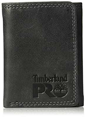 Timberland PRO Men's Leather RFID Trifold Wallet with ID Window, black/brandy, One Size