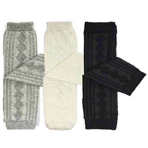 Bowbear 3 Pair Baby and Toddler Leg Warmers, Argyle Grey/White/Black