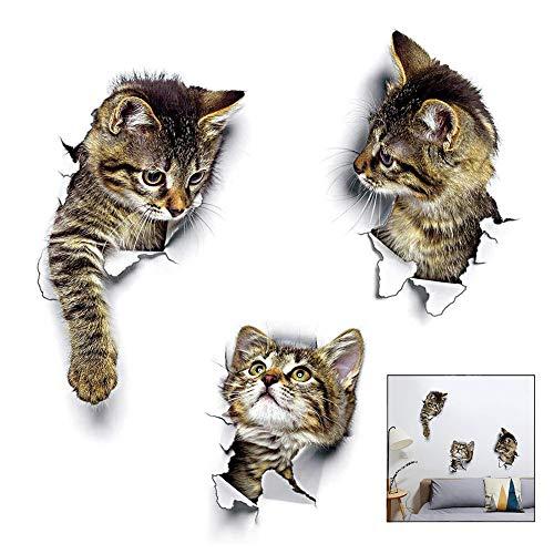 iwobi 3 pezzi Adesivi Murali Gatti, Adesivi da Parete 3D Adesivo/Adesivo Gatto Muro per Frigorifero,Cucina,Camera