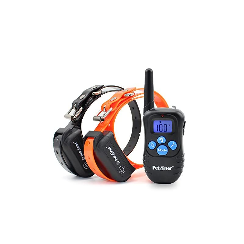 dog supplies online petrainer training collar for dogs - waterproof rechargeable dog training e-collar with 3 safe correction remote training modes, static, vibration, beep for dogs small, medium, large