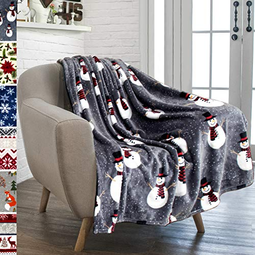PAVILIA Christmas Snowman Throw Blanket | Grey Christmas Fleece Blanket | Soft, Plush, Warm Winter Cabin Throw, 50x60 (Grey Snowman)