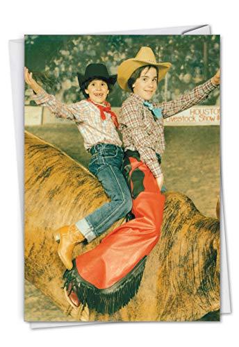 Geburtstagskarte mit Umschlag (11 x 17 cm) – mit zwei Kindern auf einem Bucking Bullride C7344BDG
