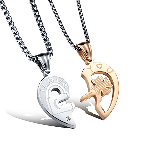 His and Her Heart Shaped Puzzle Couple Necklaces Love Heart Pendant Necklaces Women Men 2 Matching Set Necklaces Love Valentines Christmas Gift