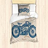 ABAKUHAUS Motorrad Bettbezug Set für Einzelbetten, Retro Chopper Grunge Art, Milbensicher Allergiker geeignet mit Kissenbezug, Blasses Sepia Dunkles Himmel Blau Blasser Redwood