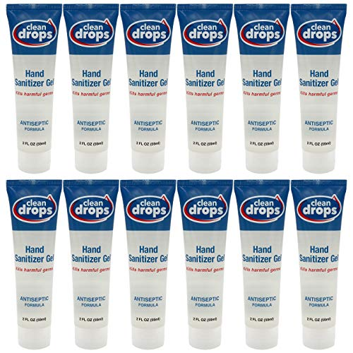 Clean Drops Mini Hand Sanitizer Gel Bulk — Small Travel Size 2 Oz Tubes (Pack of 12 - Total 24 Oz) — 78% Alcohol Kills 99.99% Germs & Bacteria — Fragrance Free — Will Not Dry Out Hands — Made in USA