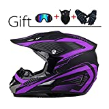 Casco da Motocross Casco da Cross da Uomo con Occhiali Guanti Maschera Casco da Moto Nero Viola Casco da Enduro in Discesa Casco ATV MTB BMX Quad Dirt Bike Moto Casco Fuoristrada per Uomo Donna@L