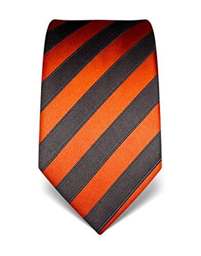 Vincenzo Boretti Herren Krawatte reine Seide gestreift edel Männer-Design zum Hemd mit Anzug für Business Hochzeit 8 cm schmal/breit kupfer