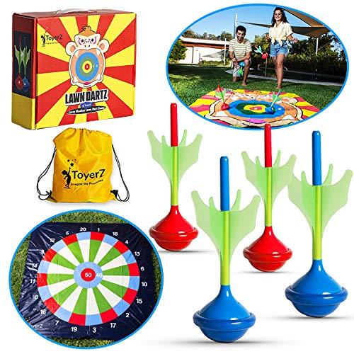 ToyerZ DartZ, Juego al Aire Libre 4 Dardos de Césped. Un Juego de Lanzamiento Exterior para Niños y Adultos Juego de Puntería para Casa y Jardín Regalo Cumpleaños y Navidad para Niños y Niñas