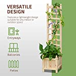 "Outsunny 11.75"" x 11.5"" x 49.25"" Raised Garden Bed with Trellis Board Back & Strong Wooden Design & Materials 10 ✅WIDE USE: With this helpful flower shelf, you can cultivate plants, making it more convenient to manage and take care them, in your patio, yard, garden, greenhouse, or anywhere you'd like to grow vegetables, herbs, or flowers ✅DECORATIVE EFFECT: The grid on the back can be decorated with rattans or around LED lights, making it a beautiful landscape and create a rustic style. It also offers ample growing space for plants, such as grapes, creepers, etc ✅CUSTOMIZABLE: The flower shelf can be painted in the varnish you'd prefer to blend well with your porch, patio or balcony. Ideal for people looking for a bit of personal touch"