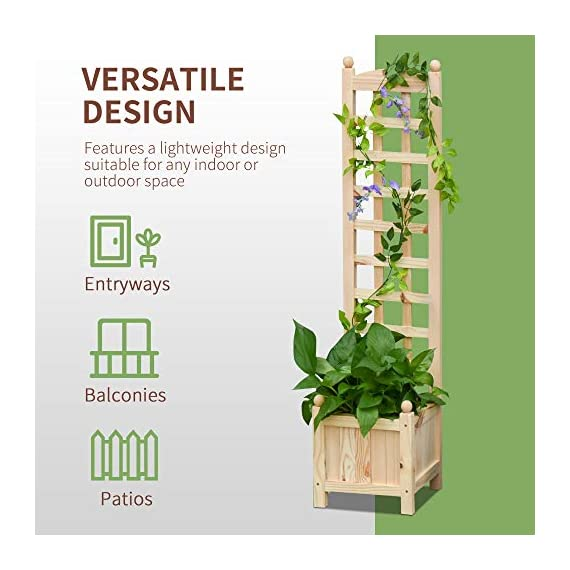 "Outsunny 11.75"" x 11.5"" x 49.25"" Raised Garden Bed with Trellis Board Back & Strong Wooden Design & Materials 2 ✅WIDE USE: With this helpful flower shelf, you can cultivate plants, making it more convenient to manage and take care them, in your patio, yard, garden, greenhouse, or anywhere you'd like to grow vegetables, herbs, or flowers ✅DECORATIVE EFFECT: The grid on the back can be decorated with rattans or around LED lights, making it a beautiful landscape and create a rustic style. It also offers ample growing space for plants, such as grapes, creepers, etc ✅CUSTOMIZABLE: The flower shelf can be painted in the varnish you'd prefer to blend well with your porch, patio or balcony. Ideal for people looking for a bit of personal touch"