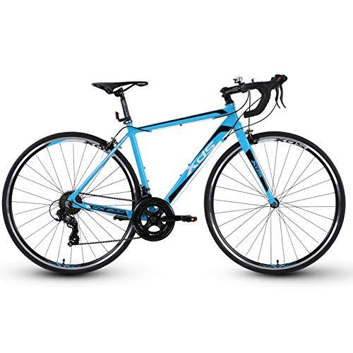 POTHUNTER Bicicleta De CarreteraXDS-RX200 700C Bicicleta De Carretera De Fibra De Carbono con Sistema De Transmisión De 14 Velocidades Y Freno De Disco De Doble Disco,Black-Blue