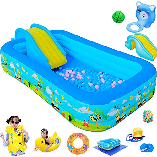CATLXC Best Rectangular Inflatable Children's Pool Portable Swimming Pool with Removable Slide & Pasted Basketball Hoop Toy,42020560cm