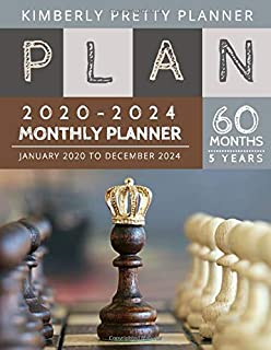 Monthly Planner 5 year: monthly calendar 5 year planner 2020-2024 for planning short term to long term goals | easy to use and overview your plan | ... design (5 year monthly planner 2020-2024)