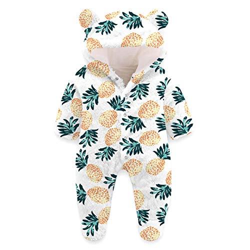 Kids4ever Baby Overalls mit Kapuze Schneeanzüge Fleece Strampler Cool 3D Ananas Grafik Spielanzug Footed Jumpsuit 9-12 Monate Mädchen Jungen Winter Babykleidung