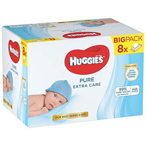 Huggies Pure Extra Care Baby-Feuchttücher, Für den ganzen Körper, 99 % reines Wasser, Parfümfrei, 8 x 56 Tücher, Monatsbox