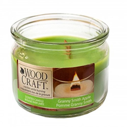 Firefly Secret Scented Wood Craft Granny Smith Apple Jar Candle Glass Jar Removable Top 2.5 oz