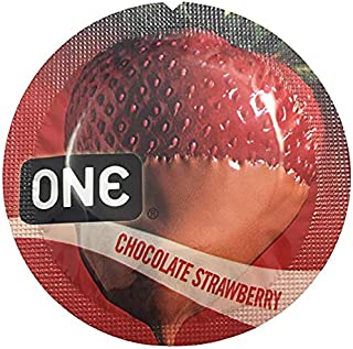 ONE Chocolate Strawberry Flavored Lubricated Latex Condoms with Silver Pocket/Travel Case-24 Count