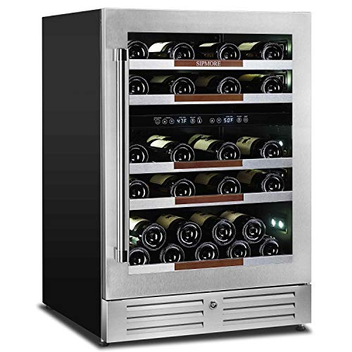 Sipmore 24 Inch Multi-size Bottle Wine Cooler Built-in or Freestanding Wine...