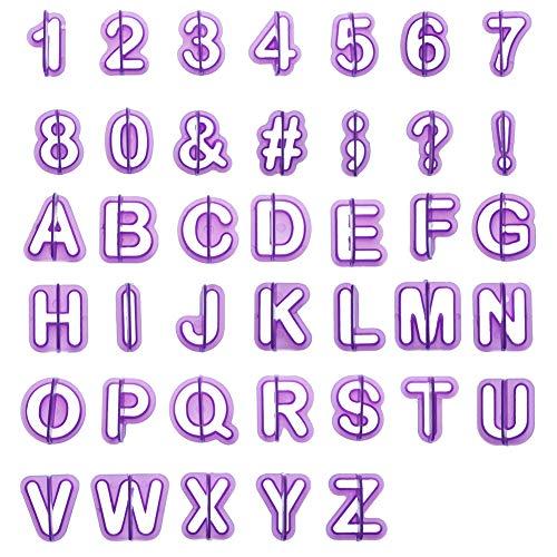 Soleebee 40-Teiliges Fondant Ausstecher Set Ausstechformen für Buchstaben, Zahlen und Satzzeichen Formen Set Fondant Werkzeuge Zubehör Modellierwerkzeug für Torten Deko