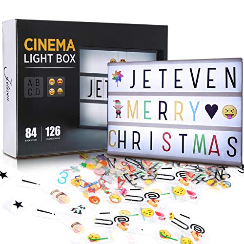 Jeteven Cinema Light Box, with Colorful Letters Emojis LED for Home Decor Wedding Birthday Parties (White)