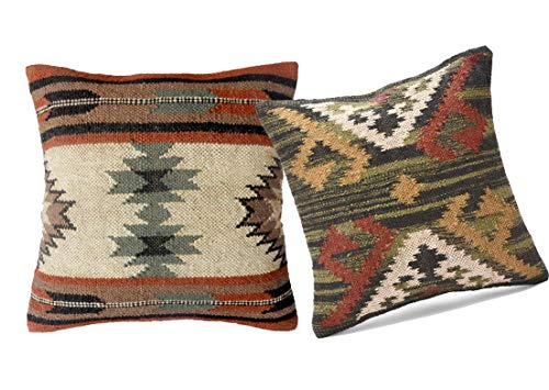 Great Features Of 18x18 Set 2 Indian Car Kilim Cotton Cushion Jute Rug Cushion Cover Pillow Boho Rus...
