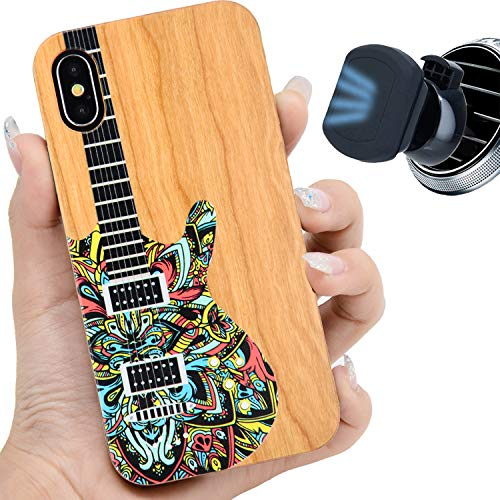 iProductsUS Music Wood Phone Case Compatible with iPhone XR and Magnetic Mount, Colorful Guitar Printed in USA, Built-in Metal Plate, Wireless Charging Compatible, TPU Protective Cover (6.1 inch)