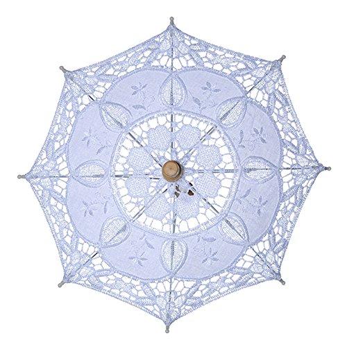 kangOnline Sonnenschirm für Hochzeit, Braute, Spitze, Vintage, für Damen, weiß, Large