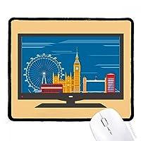 ロンドンの目のダブルデッカーバス・グラフィティ マウスパッド・ノンスリップゴムパッドのゲーム事務所