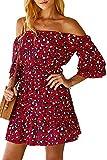 Vestido de Leopardo con Hombros Descubiertos para Mujer Mini Vestidos de Verano Sexy Boho Rojo XL