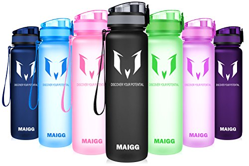 MAIGG Botella de Agua Deportiva - para Correr, Gimnasio, Yoga, Aire Libre y Camping-500ml Black