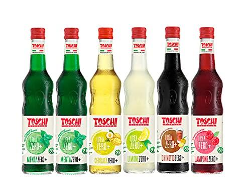 Drink della tradizione Italiana Zero + Toschi 560 ml nei gusti 2x Menta, Lampone, Limone, Chinotto e Cedrata.