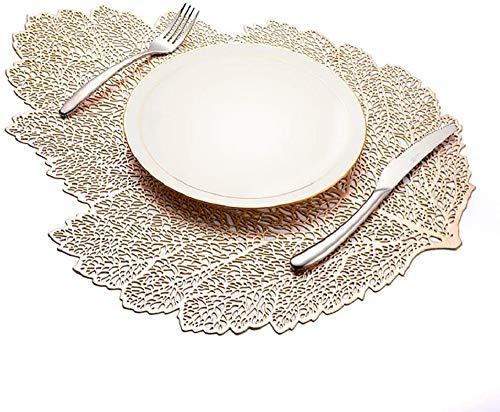 E EBETA 6er Set Ausgehöhlte Blätter Platzset Waschbar Tischset Dekorativer Rutschfester Kunststoff Platzdeckchen für Küche Tisch (Gold A)