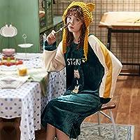 パジャマセット、ローブナイトウェア、冬の女性のナイトドレス、フランネルパジャマ、屋内と屋外に適した家庭服、甘くて素敵なローブ,C,XXXL