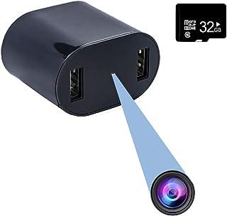 32GB内蔵メモリ付 隠しカメラ スパイカメラ ACアダプター型 1080P 高画質 ループ録画 動体検知撮影機能付 32GBメモリカード付 長時間録画 音声付き 防犯監視 ブラック