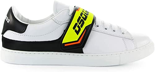 Dsquarouge2 Chaussures Homme paniers New Tennis Blanc Jaune Fluo SS 2019