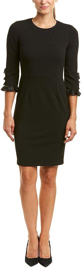 Donna Morgan Women's 3/4 Elbow Sleeve Sheath Dress with Satin Cuff