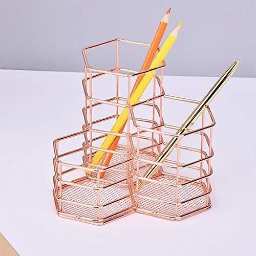 Organizador de escritorio con combinación hexagonal de puerta de hierro forjado para el almacenamiento de escritorio, pincel de maquillaje, decoración del hogar de estudio, PC de escritorio, acabado