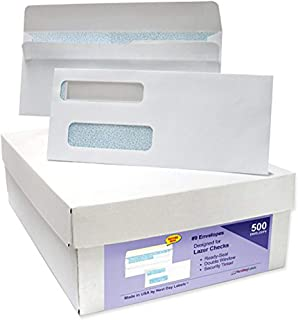 #9 Ready-Seal Double Window Security Tinted Check Envelopes, Compatible for QuickBooks Checks, Sage 100 Program, Blackbaud Software ETC, Box of 500